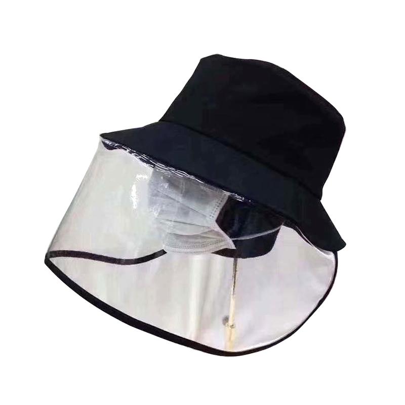 防飞沫帽子定制女韩国防护帽挡雨唾沫飞溅带面罩遮脸渔夫帽男防晒