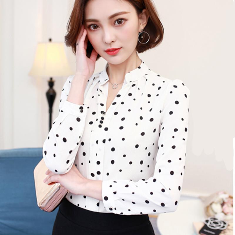 2018秋季新款女装韩版简约条纹长袖套头衬衫春秋百搭雪纺衫女上衣