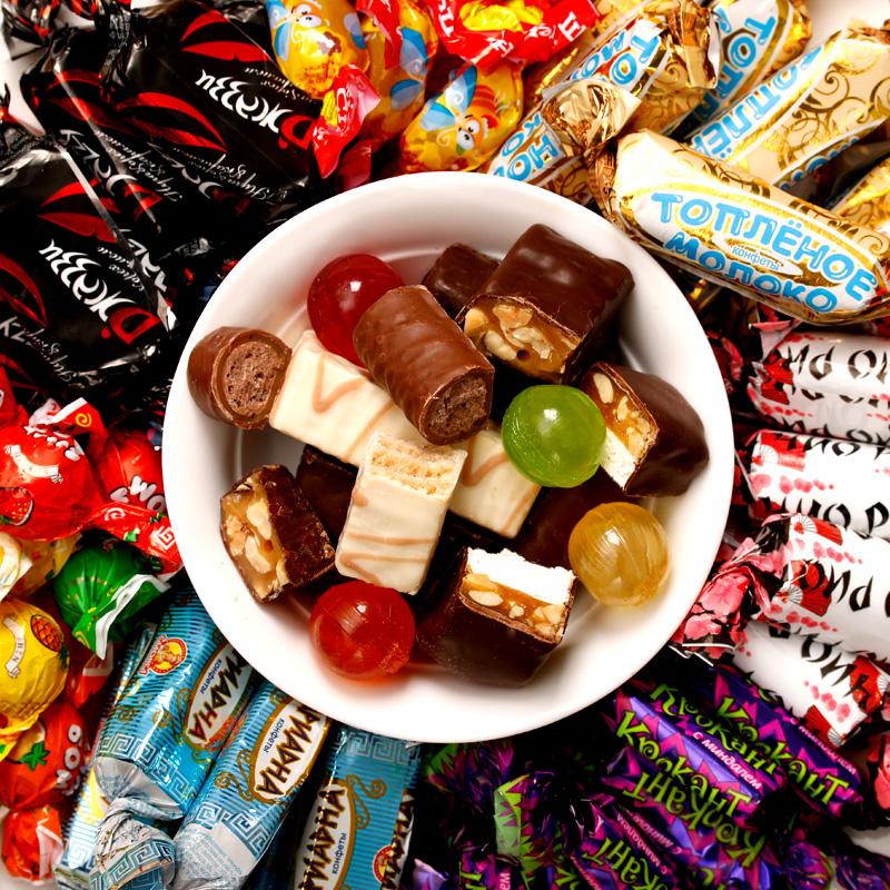 俄罗斯紫皮糖果巧克力饼干多口味混合装年货糖果礼盒1kg零食特产