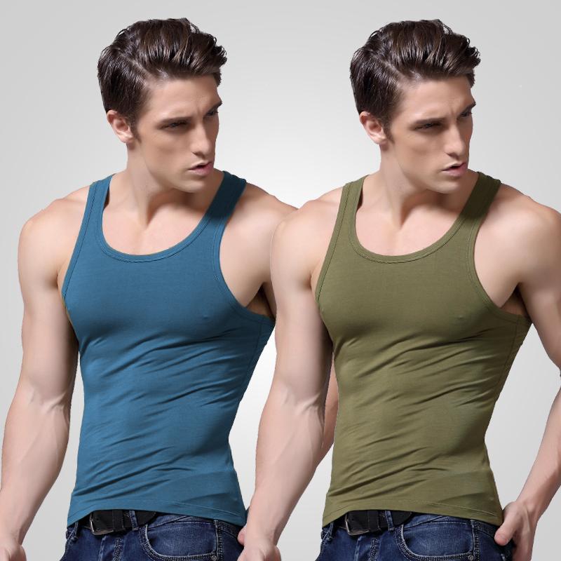 莫代尔男士背心工字弹力紧身运动跨栏打底健身冰丝汗衫修身型夏季