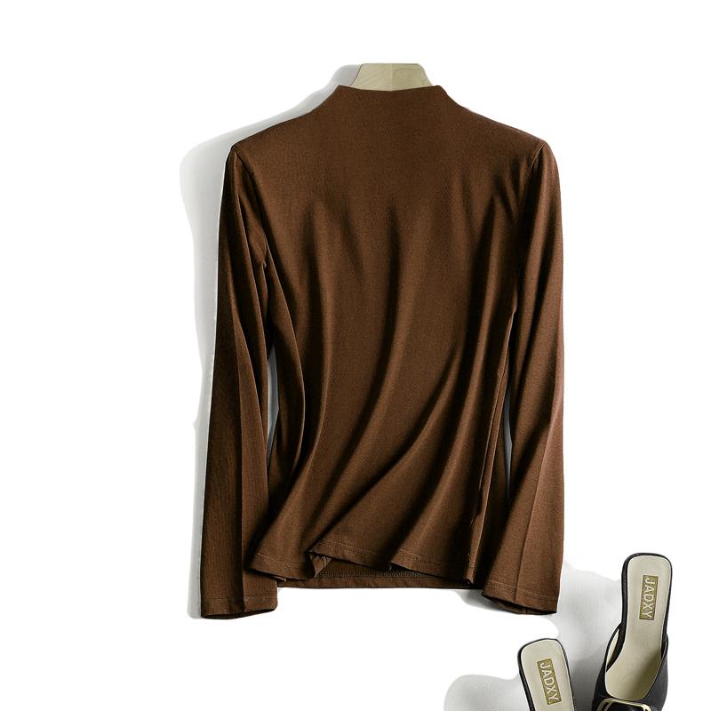 望旭红秋冬新款半高领打底衫女长袖果绿色t恤修身内搭上衣大码薄