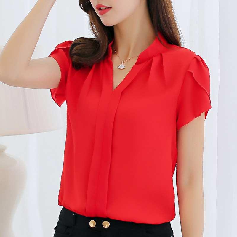 短袖衬衫女夏2020新款韩版修身显瘦时尚V领休闲百搭上衣小衫