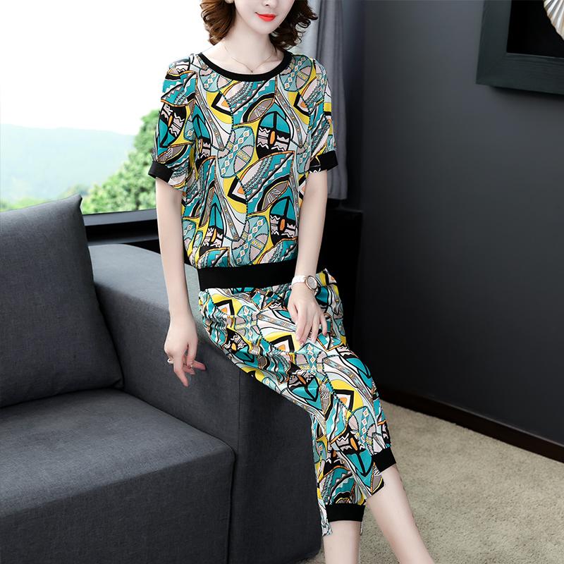 真丝桑蚕丝两件套2020夏季女装新款大码时尚洋气印花显瘦休闲套装