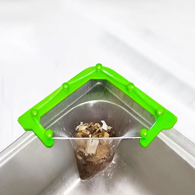 网里倒一次性过滤网三角沥水架厨房剩饭剩菜残渣水槽过滤笼沥水篮