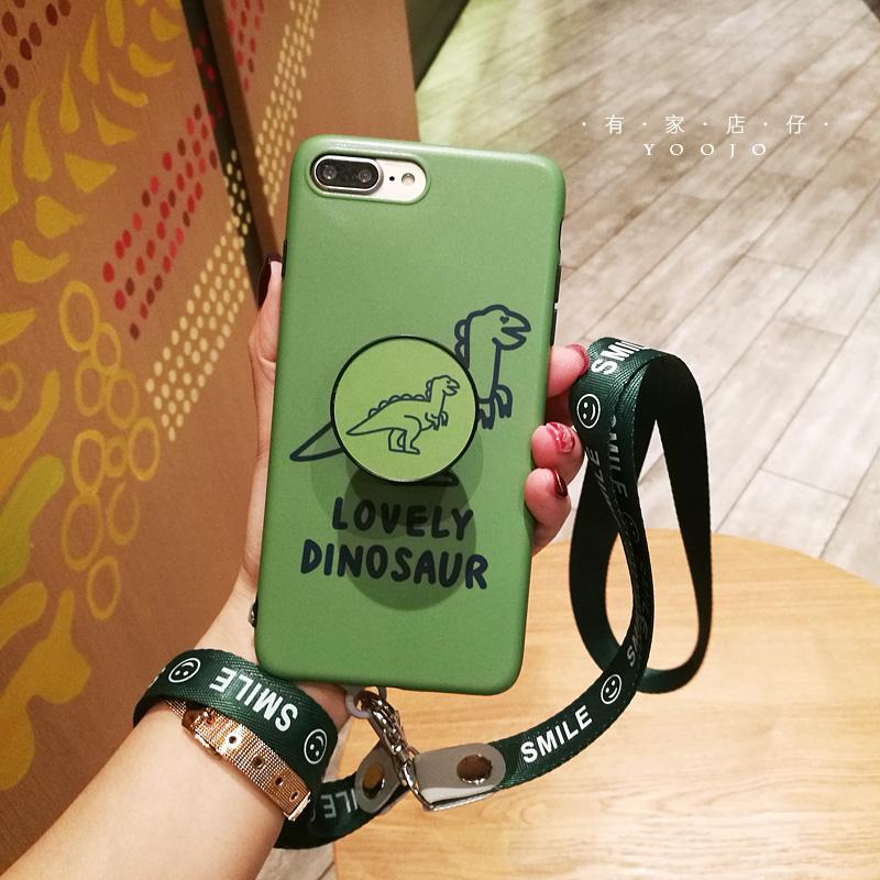 可爱小恐龙iphone8plus手机壳ins风xs气垫支架max苹果6s软套挂绳7