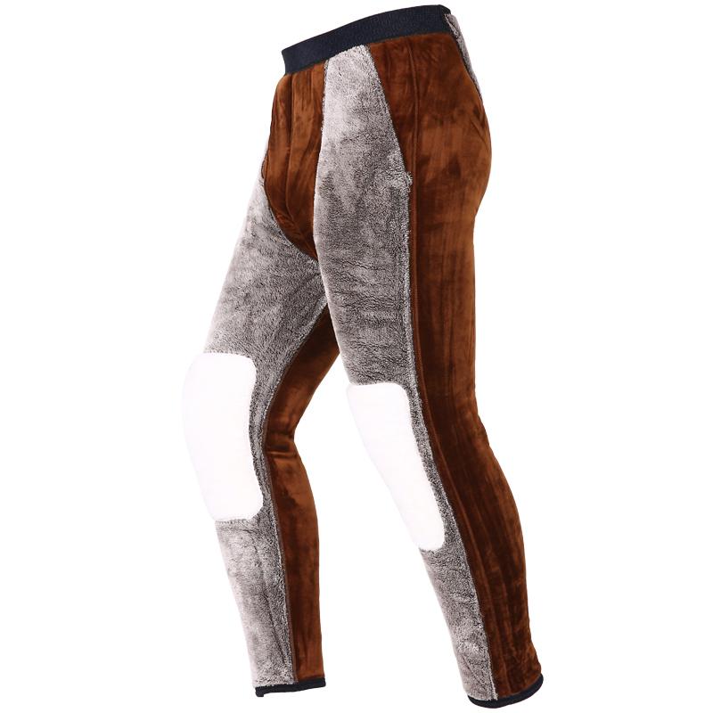 保暖裤男加绒加厚驼绒修身高腰打底大码东北男士中老年棉裤女冬季
