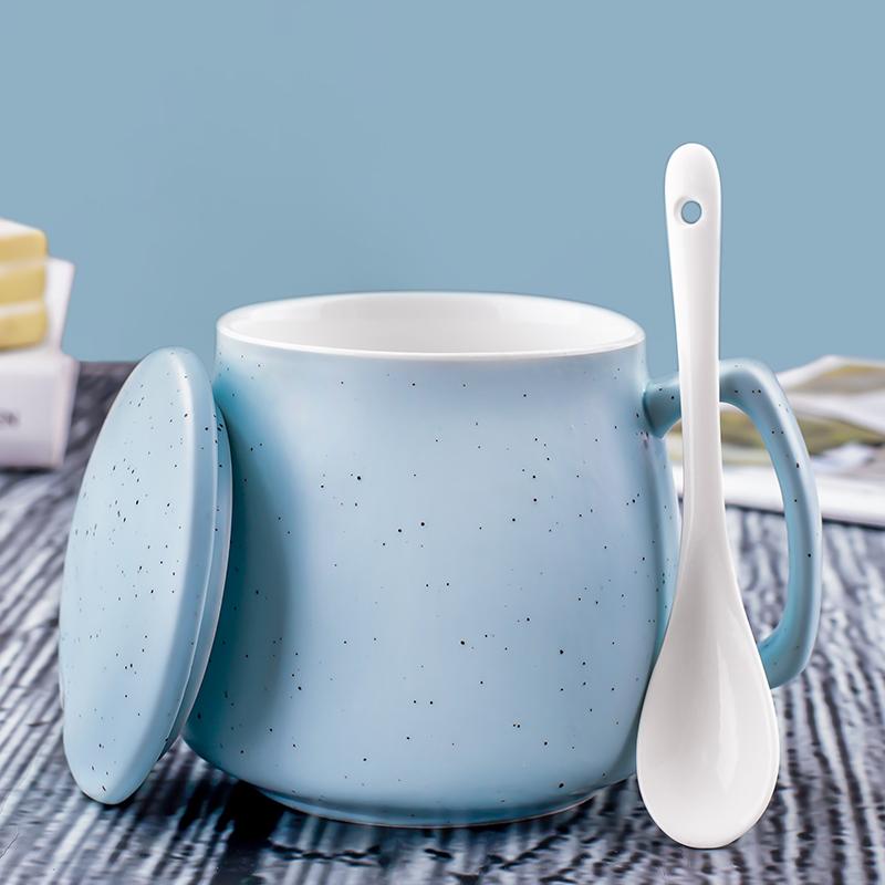 创意个性陶瓷马克杯带盖勺潮流情侣早餐牛奶杯家用咖啡杯女水杯子