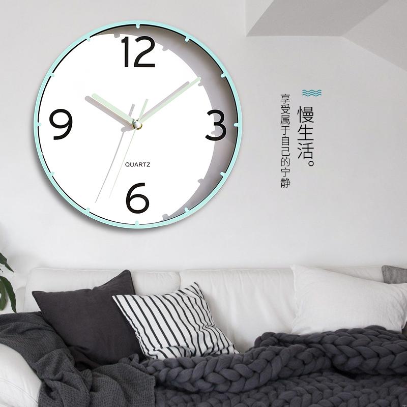 简约大气卧室家用客厅时尚挂钟个性创意静音挂表圆形石英装饰时钟