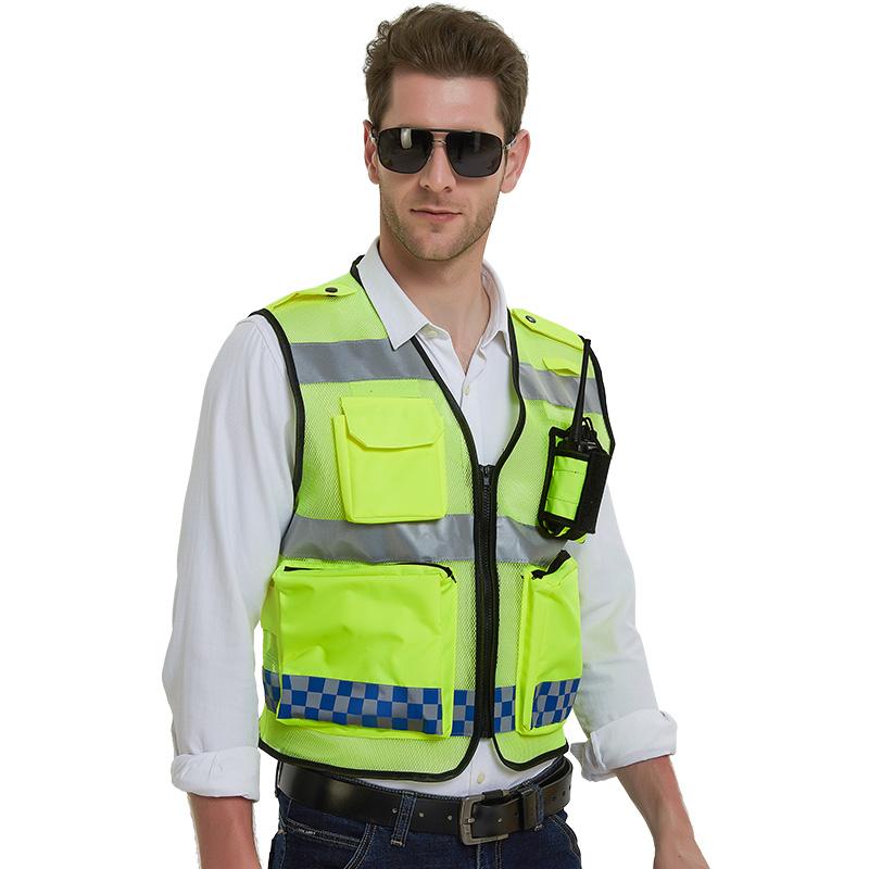 网布透气反光背心马甲安全服多功能道路施救反光衣摩托车骑行马甲