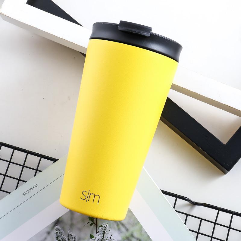 美国sim咖啡杯随手杯大容量随行杯不锈钢保温杯北欧风双盖带吸管