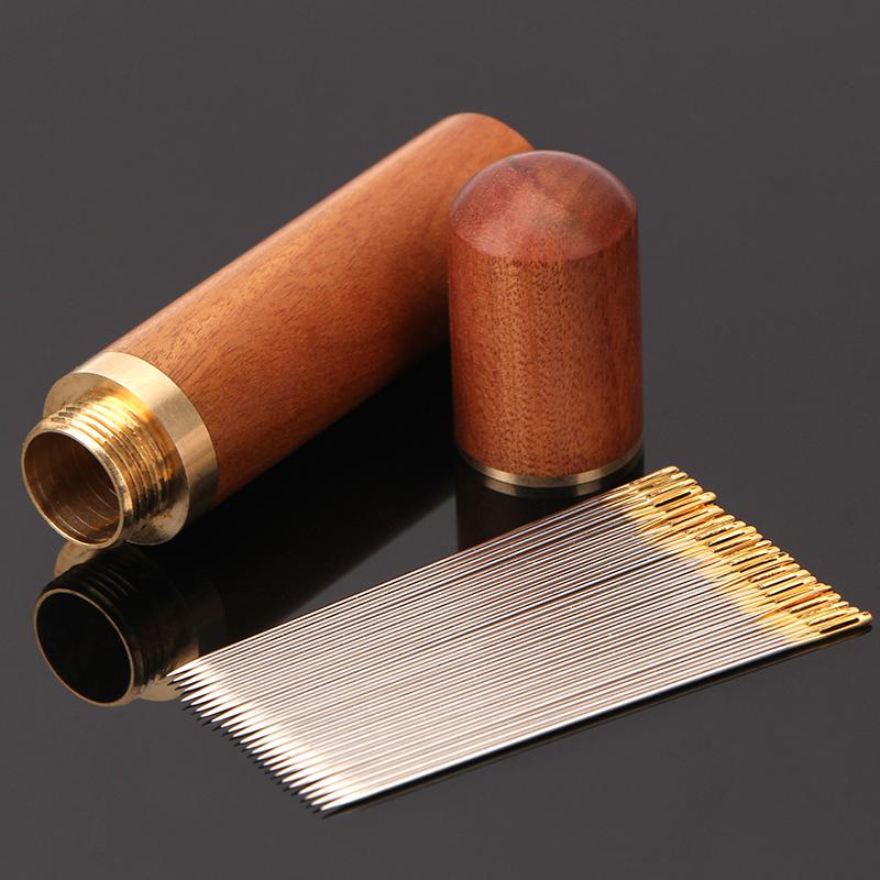 檀木针筒家用优质手工缝衣针十字绣花针钢针老人免穿针神器被子针