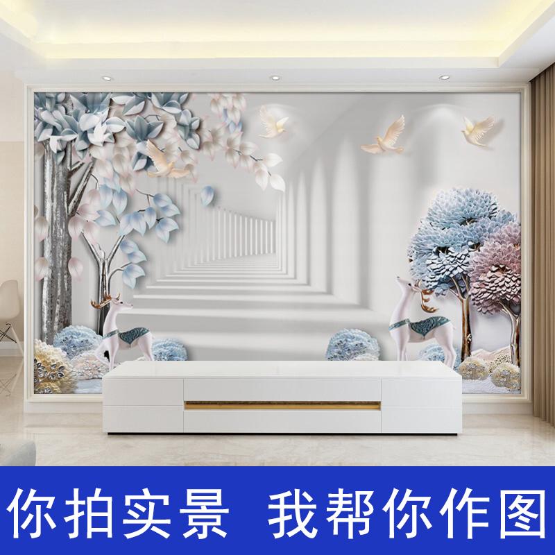 立體影視牆布大氣 3d 客廳壁畫 5d 電視背景牆壁紙現代簡約麋鹿牆紙 8d