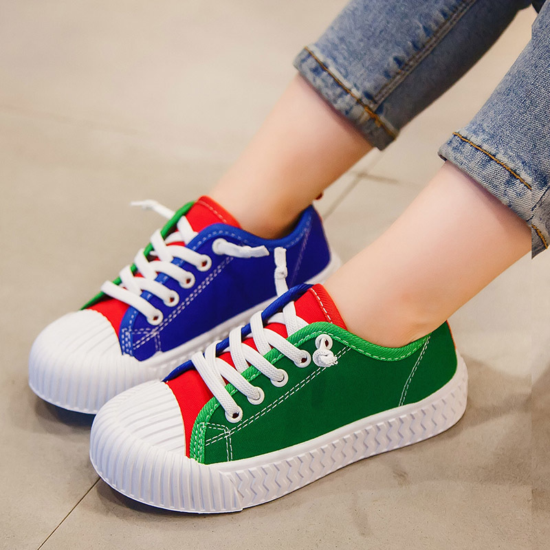 帆布鞋女童鞋子春秋2019新款儿童单鞋饼干鞋贝壳头板鞋男童鞋休闲