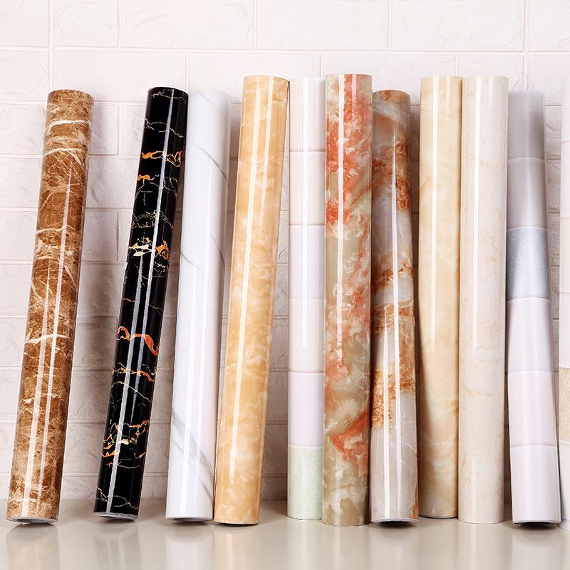 加厚防水防潮可擦洗大理石紋廚房櫥櫃桌子檯面傢具翻新牆紙壁紙