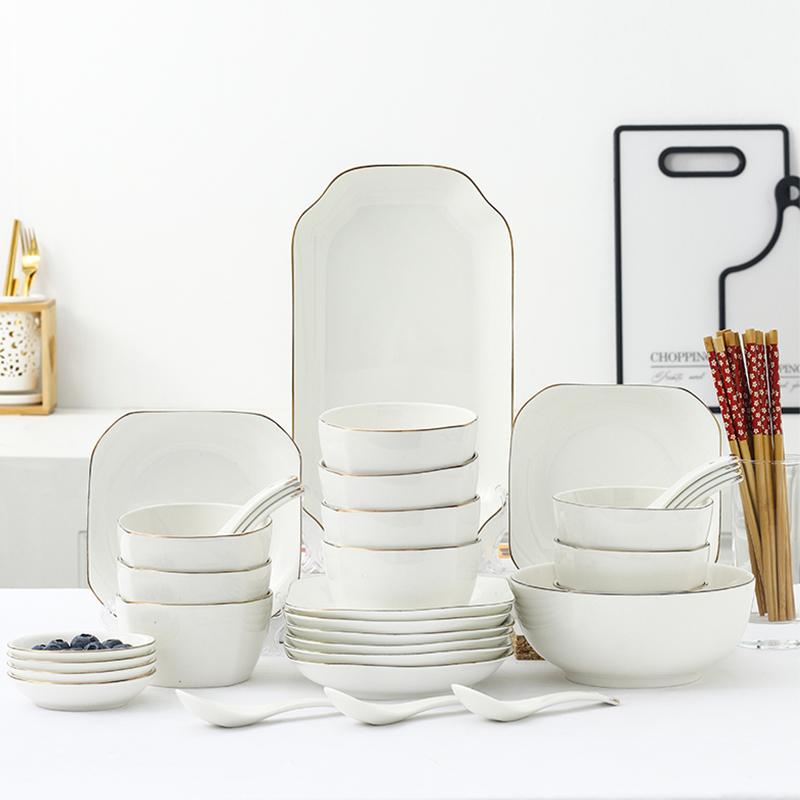 厨公网红陶瓷餐具套装碗盘家用创意北欧简约碗碟勺筷子汤碗组合