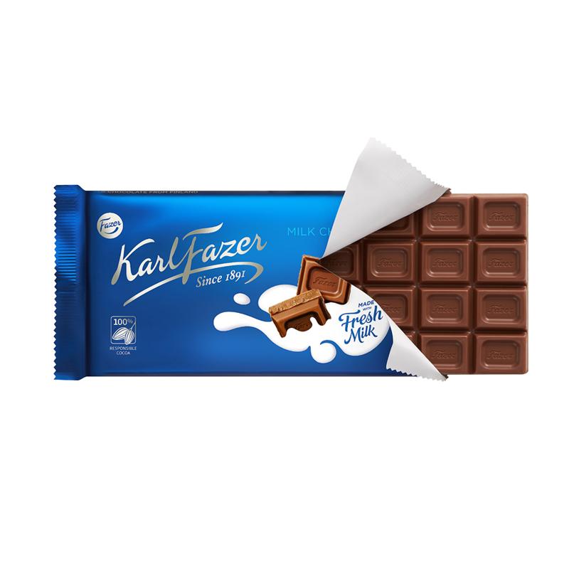 芬兰原装进口 Fazer卡菲泽牛奶巧克力排块145g*2 休食礼品伴手礼