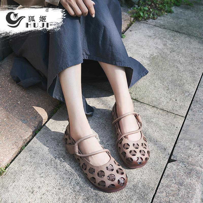 狐姬2020年新款女鞋真皮软底包头凉鞋女镂空洞洞单鞋复古百搭平跟