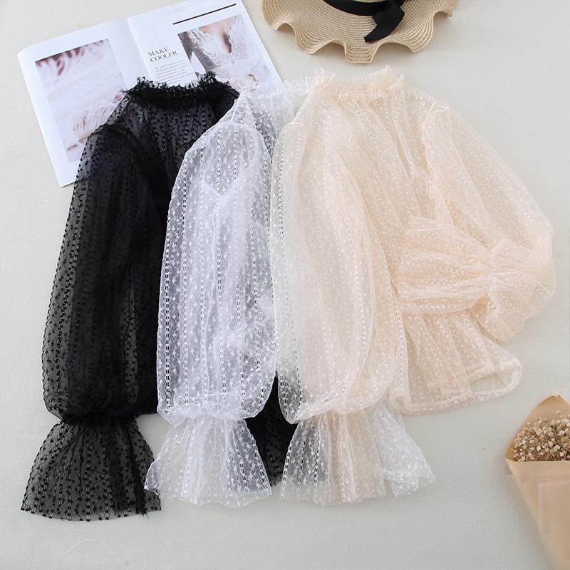 蕾丝打底衫女长袖时尚内搭灯笼袖雪纺衫洋气小衫网纱很仙的上衣