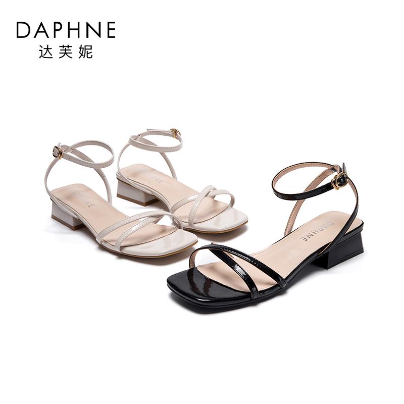 达芙妮2020夏新款仙女风凉鞋女时装低跟中跟一字扣韩版百搭女鞋