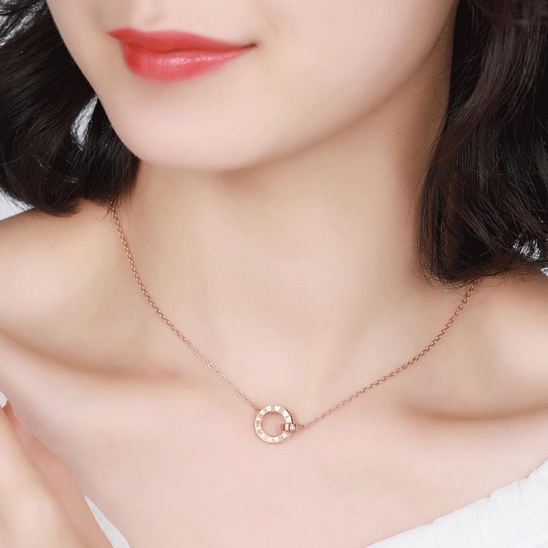 formyone珠宝时光里的爱钻石吊坠罗马数字锁骨链项链