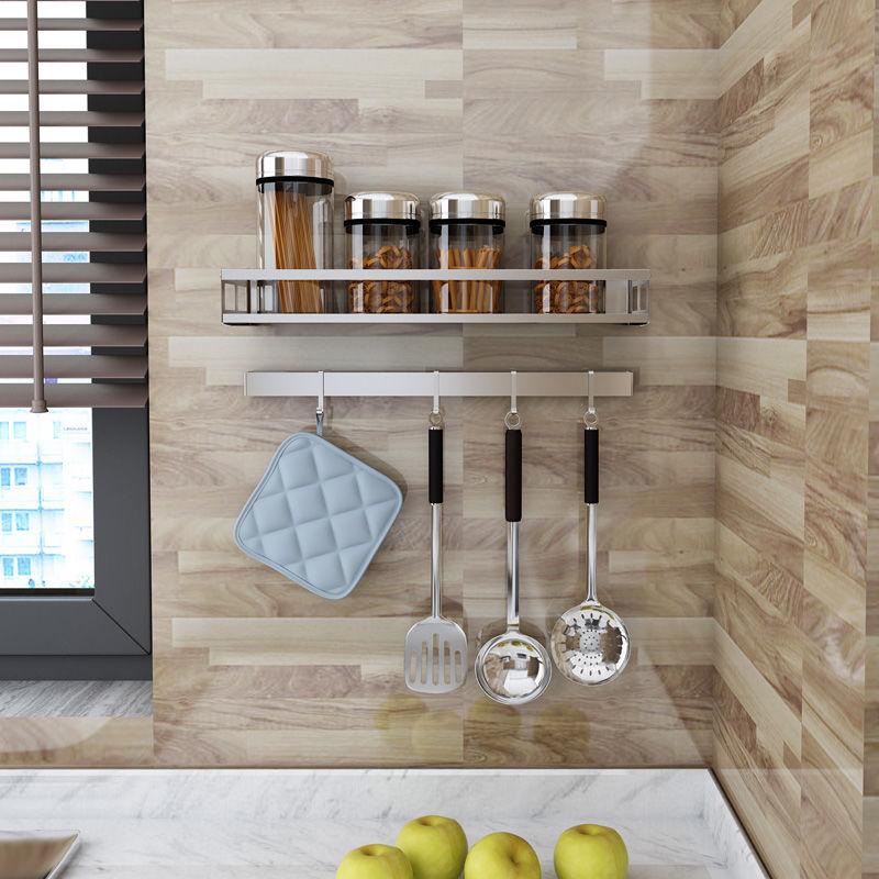 厨房调料置物架不锈钢调料架壁挂式免打孔调味品油盐酱醋收纳挂架