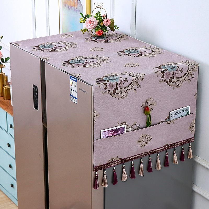 冰箱防尘罩防尘布盖布保护罩微波炉洗衣机双开门单开门冰箱罩盖巾