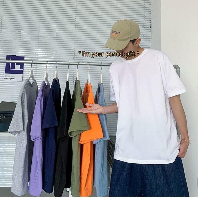 纯棉夏季短袖t恤男宽松百搭圆领情侣半袖学生上衣纯色打底衫