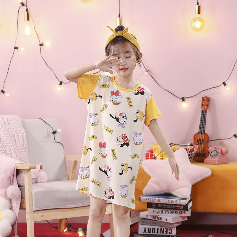 儿童睡裙短袖女童夏季中大童睡裙薄款短袖小女孩夏天睡衣裙家居服