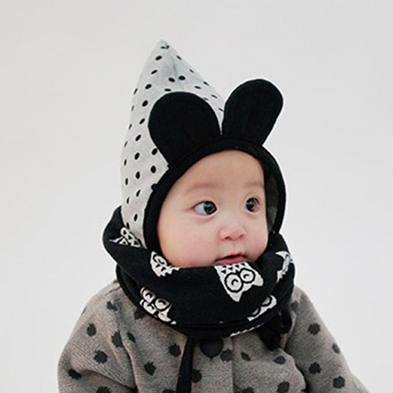 韩国进口婴儿帽子秋冬纯棉婴幼儿尖顶护耳精灵帽新生儿童可爱耳朵