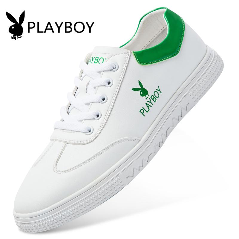 花花公子男鞋秋季板鞋韩版学生平底小白鞋百搭白色运动休闲鞋子潮