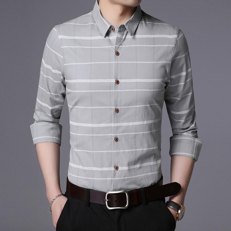 LAKECY/莱克茜男士时尚潮流长袖衬衫青年休闲新款韩版修身2018