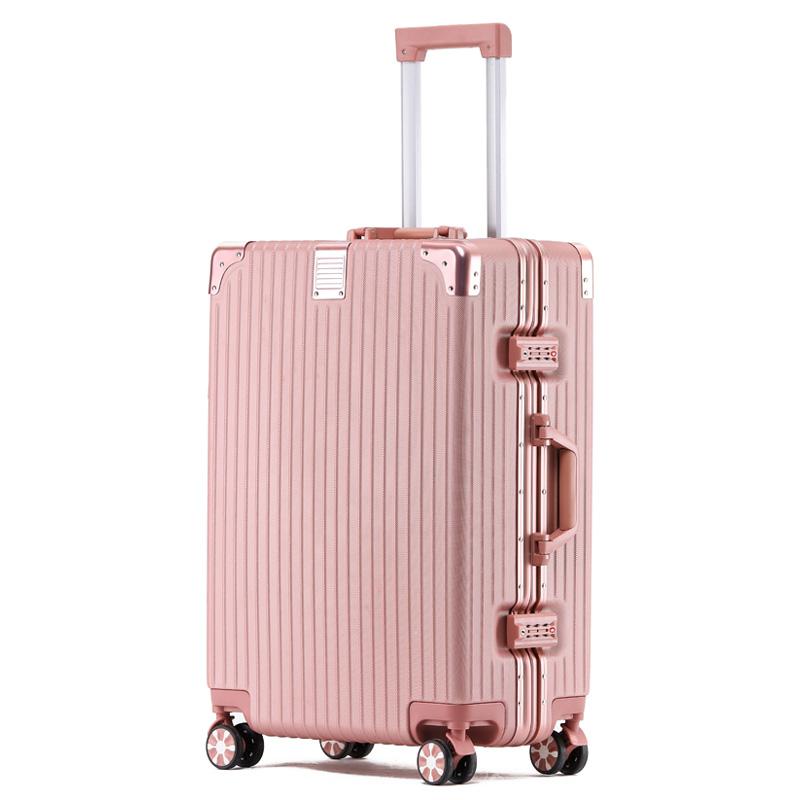 拉杆箱旅行箱子韩版密码皮箱万向轮潮男女网红行李箱ins铝框登机