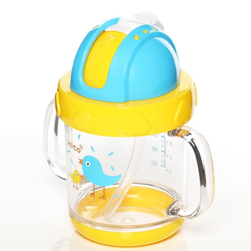 喜多吸管杯 婴儿童学饮杯带手柄刻度防摔防漏 幼儿园宝宝喝水杯子