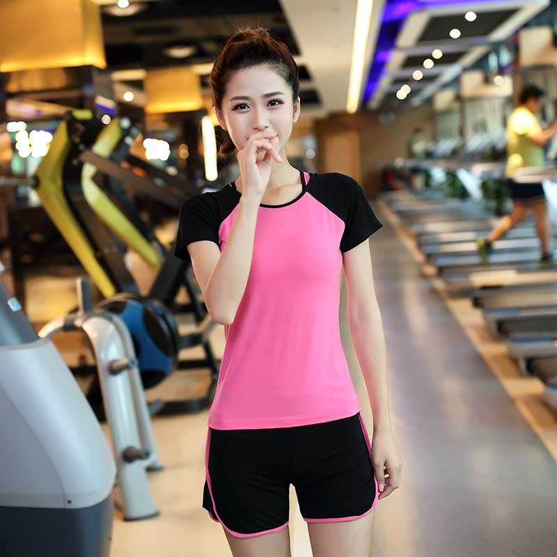 春夏瑜伽服套装女跑步服显瘦健身服短裤三件套健身房跑步服舞蹈服