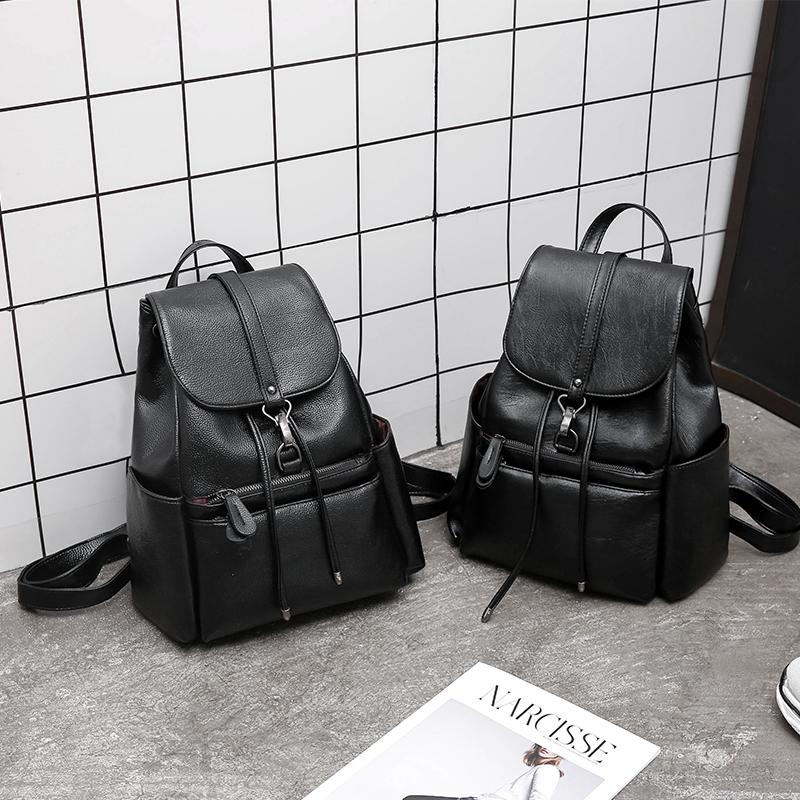 双肩包女2018新款潮韩版百搭时尚女士个性软皮pu背包2017休闲书包
