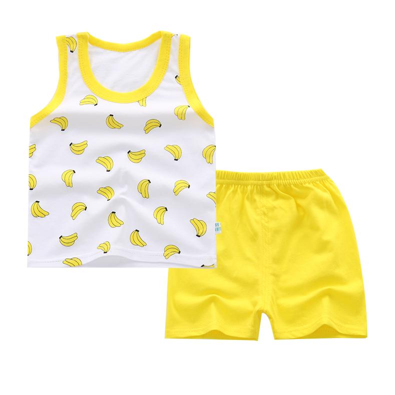 夏男女童套装纯棉薄款儿童背心短裤宝宝两件套1-3-6岁5中小童衣服