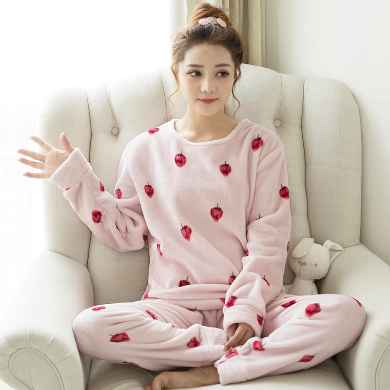 珊瑚绒睡衣女士秋冬季长袖保暖法兰绒加绒加厚可爱冬天家居服套装