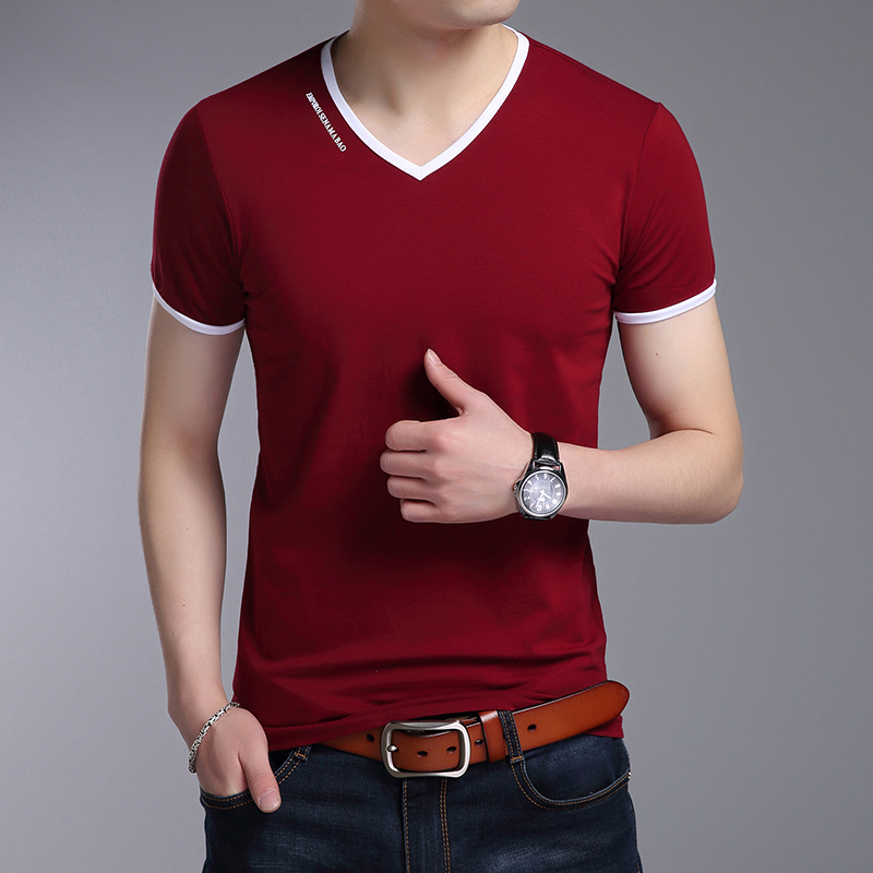 男士短袖T恤夏季青少年半袖v领韩版修身纯色体恤打底衫潮
