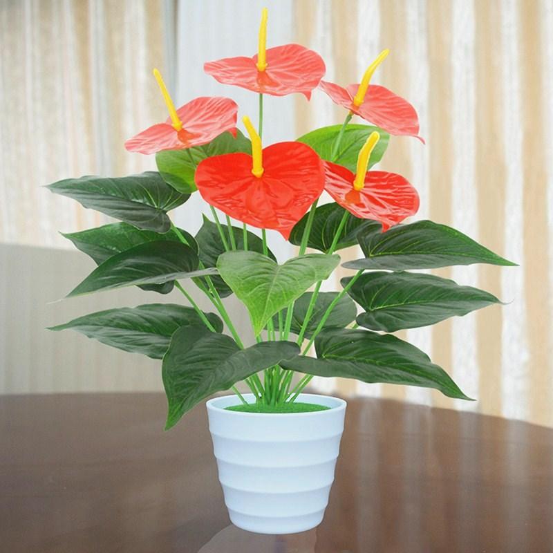 仿真绿植红掌假花客厅室内装饰植物落地塑料假绿萝花盆栽摆设盆景