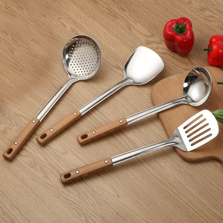 锅铲煎铲汤勺漏勺不锈钢厨具加厚粥勺子套装家用厨房用品炒菜铲子