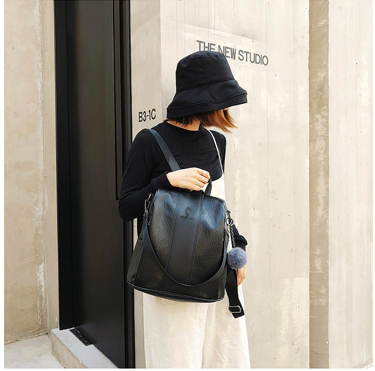 双肩包女2019新款时尚百搭小背包软皮休闲旅游旅行大容量韩版书包
