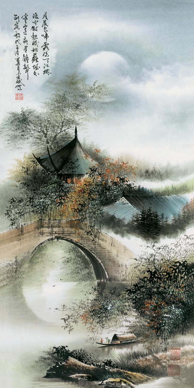 风水聚财 装裱定制外事礼品名家字画 卷轴画 山水国画