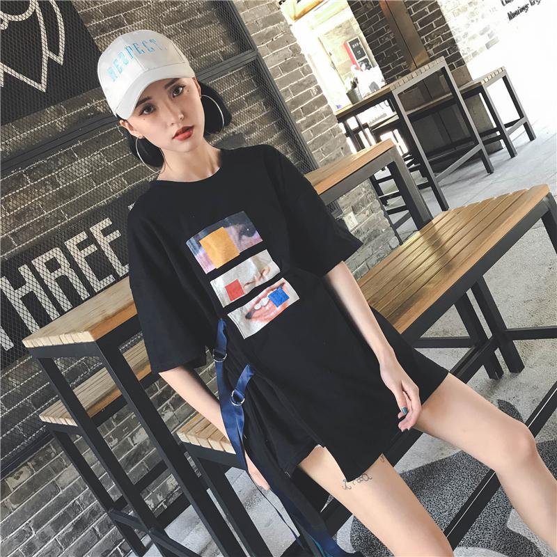 2019夏装潮流时尚街头炫风半袖绑带上衣中长款短袖t恤女装学院风