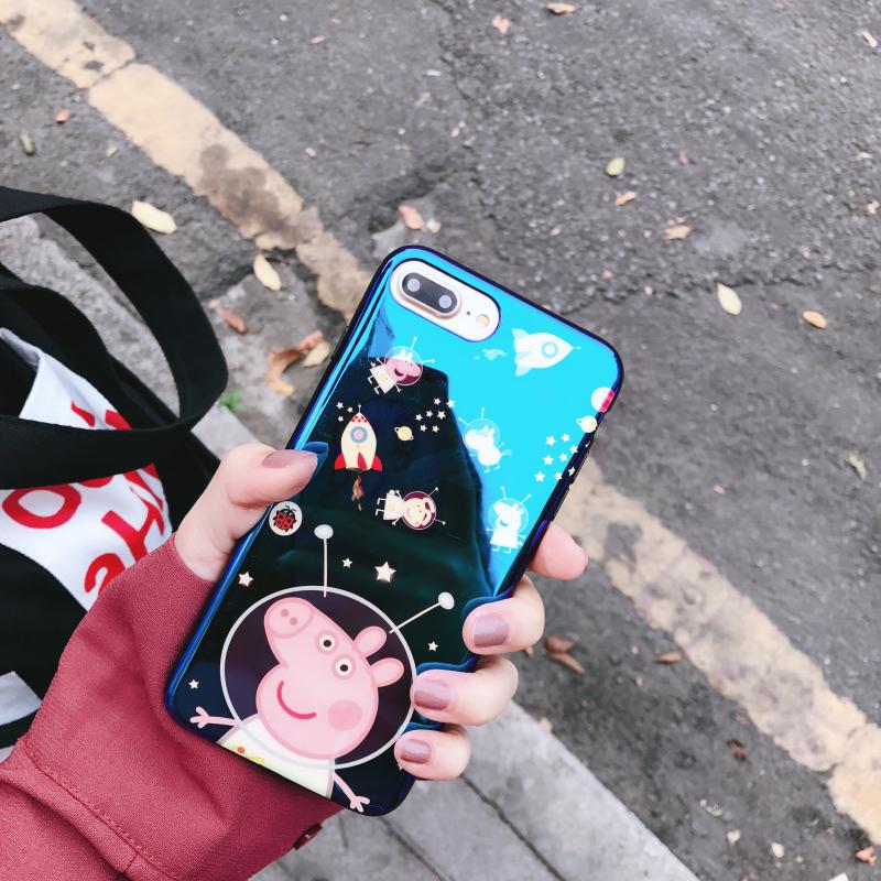 社会人苹果x手机壳小猪佩奇iPhone8plus软壳6s网红5s抖音7女款se