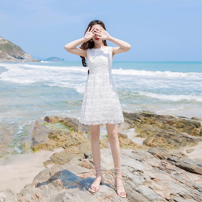 2019新款流行裙子显瘦高腰法式a字蕾丝仙女超仙甜美网纱连衣裙夏