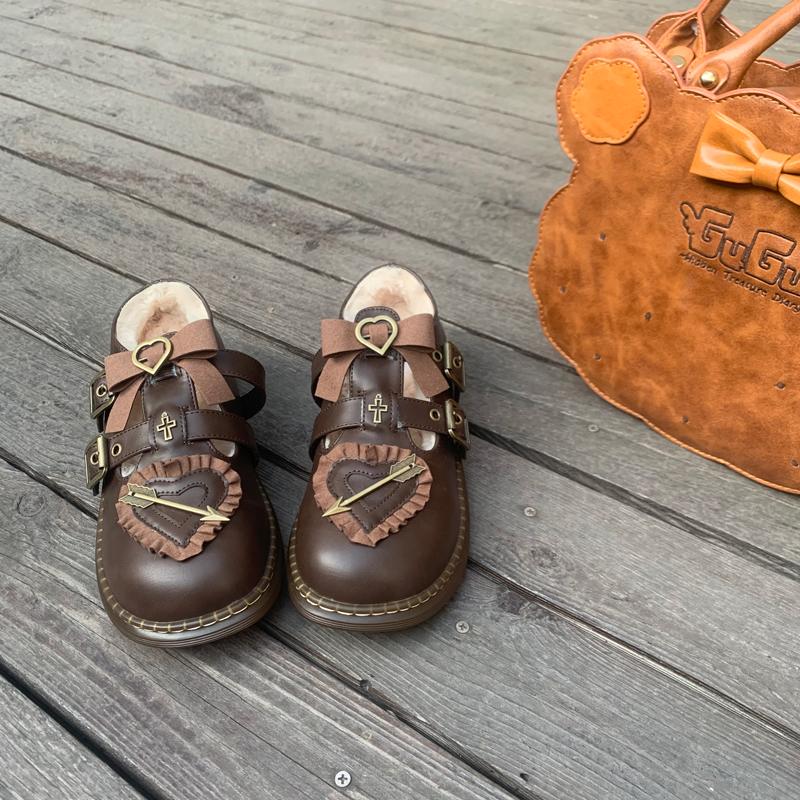 毛毛鞋低跟女皮单鞋 Lolita 秋冬新款加绒狙击甜心原创 全款预售