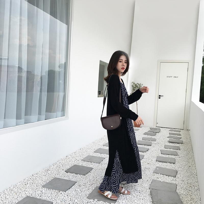 2019春秋季新品针织大码女装慵懒风宽松毛衣中长款外搭开衫空调衫