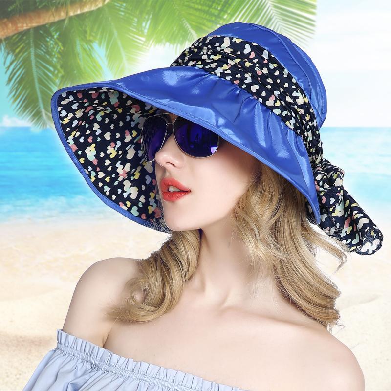 帽子女夏大沿遮阳帽子女士夏季潮韩版防晒折叠骑车空顶遮脸帽