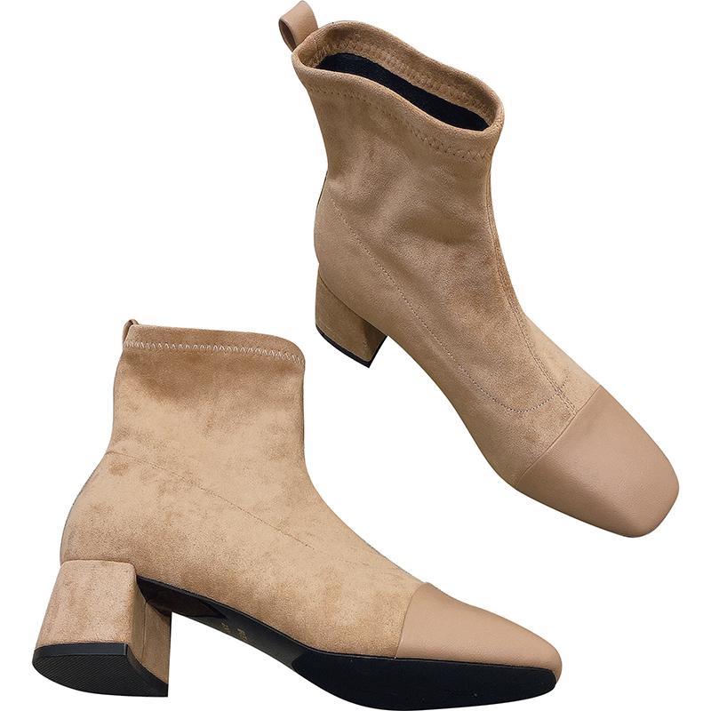 小香风女鞋靴子2020秋冬新款韩版气质绒面拼接方头粗跟短靴马丁靴