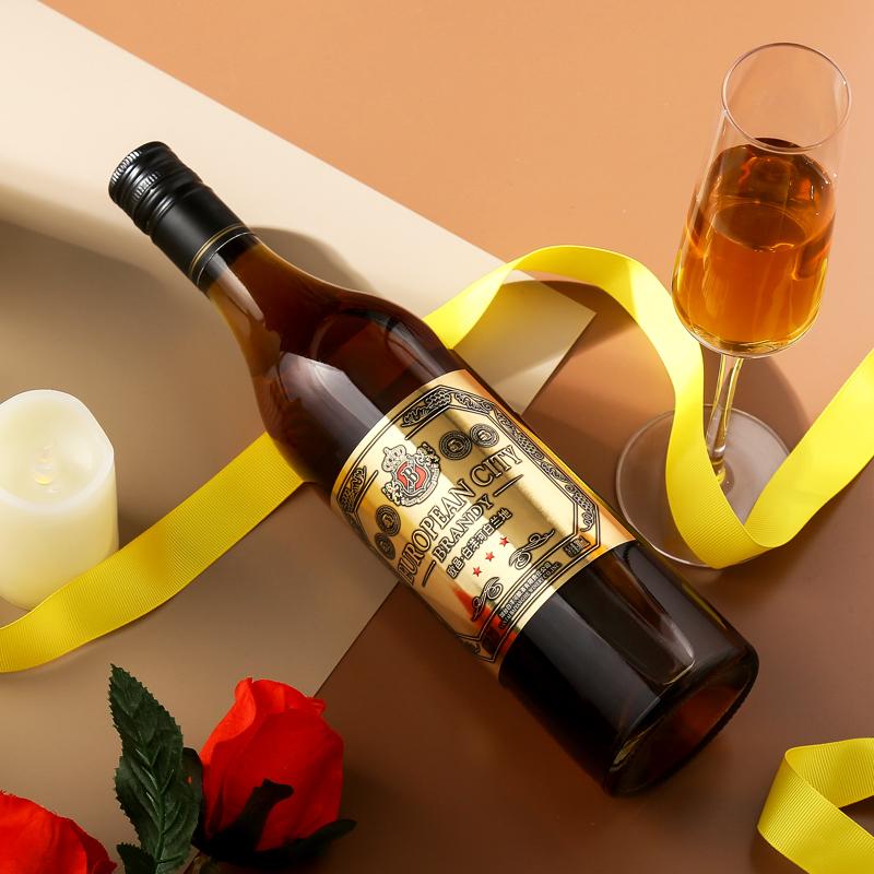 白洋河三星金奖白兰地酒 700ml*1支装 烘焙可用38度 国产洋酒1瓶